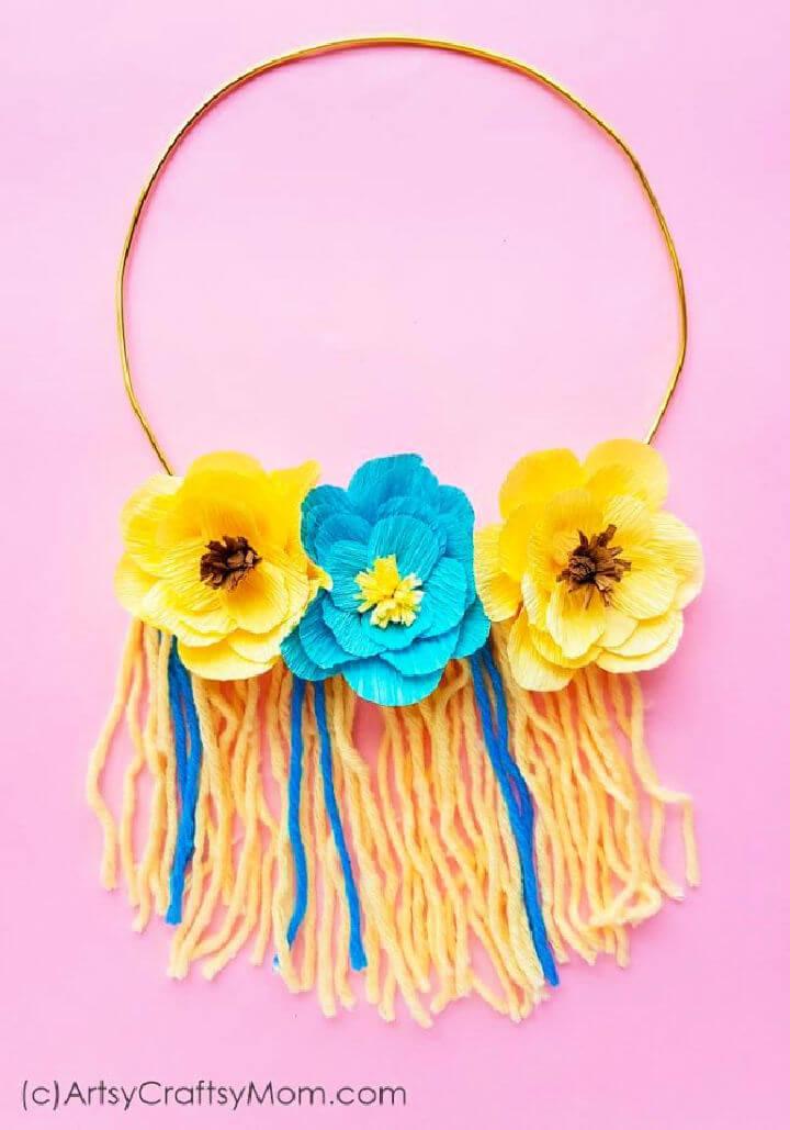 Handmade Yarn Floral Wall Hanging