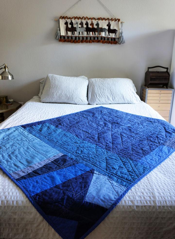 Improvised Blue Scrap Quilt