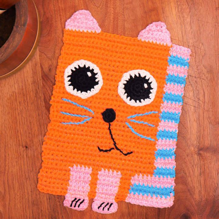 Lily Sugarn Cream Cute Crochet Cat Dishcloth