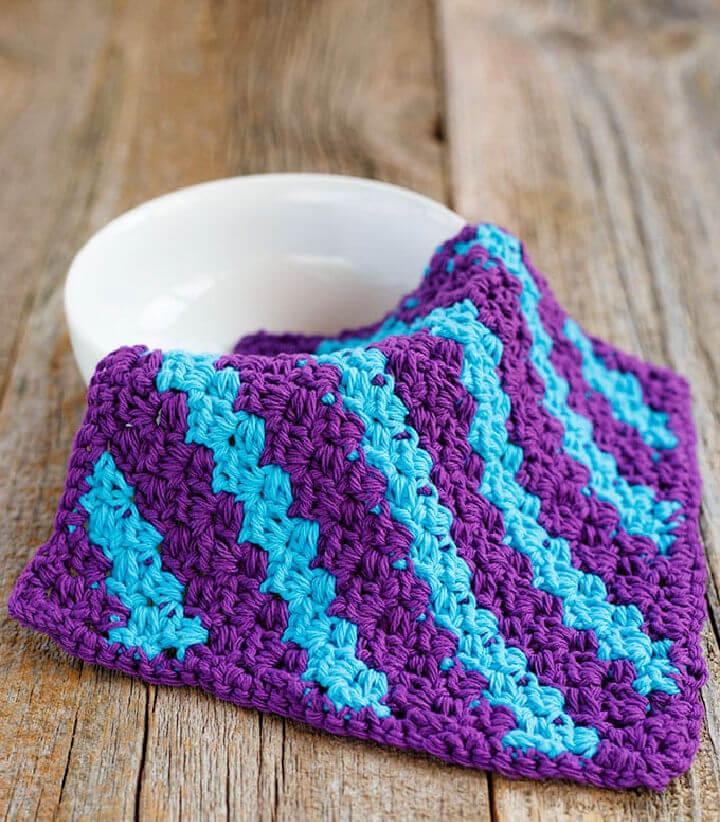 Mini C2C Stripe Crochet Dishcloth