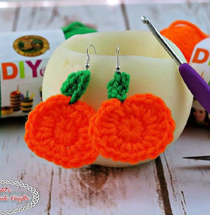 Mini Pumpkin Crochet Earrings