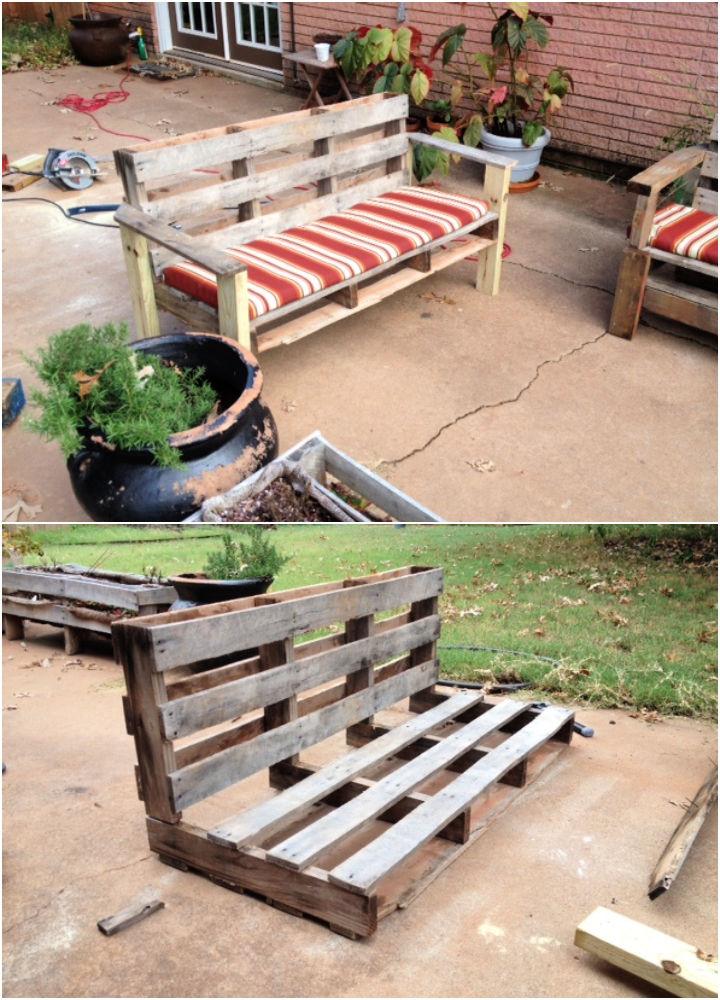 Pallet Into an Outdoor Patio Bench