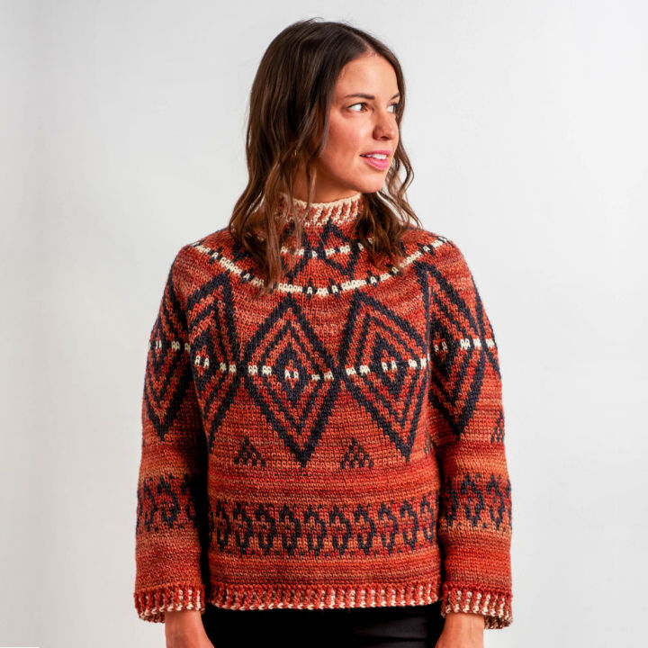 Patons Alcona Colorwork Crochet Sweater