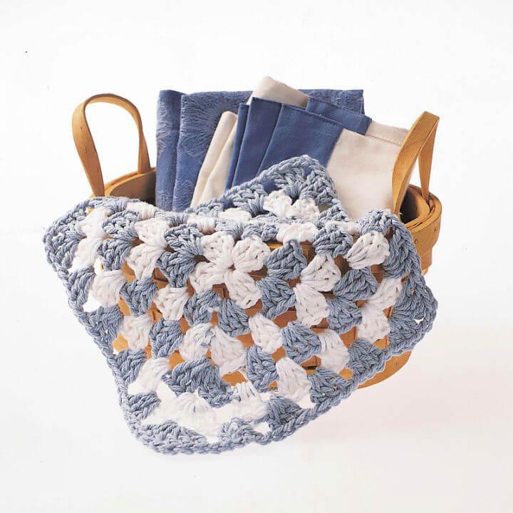 Peaches and Creme Granny Square Crochet Dishcloth