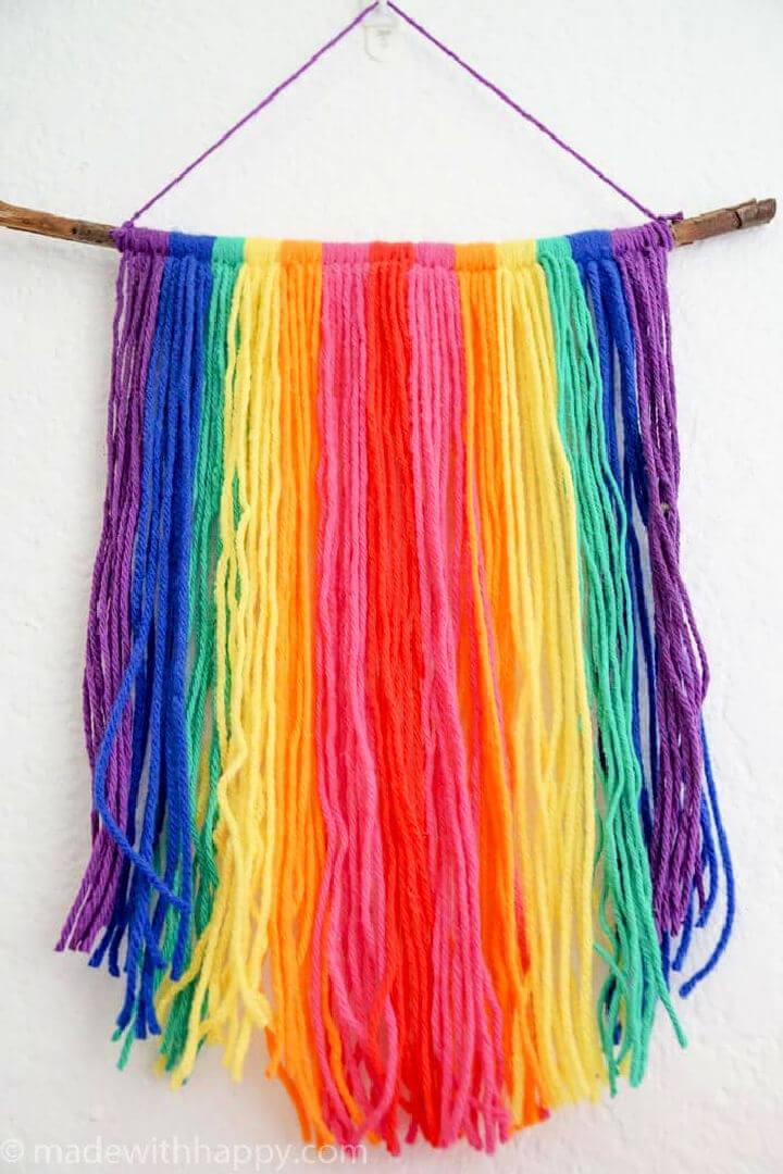 Rainbow Yarn Wall Hang Tapestry