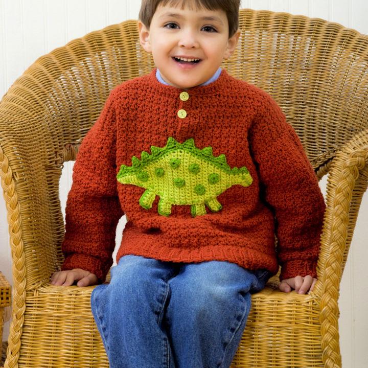 Red Heart Boys Dino Crochet Sweater