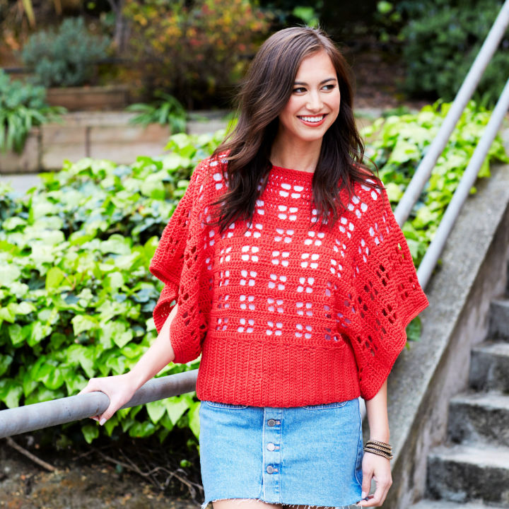 Red Heart Clementine Chic Crochet Sweater