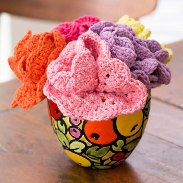 Red Heart Crochet Dishcloths Bouquet