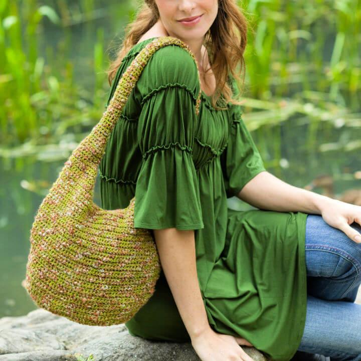 Red Heart Crochet Hobo Bag