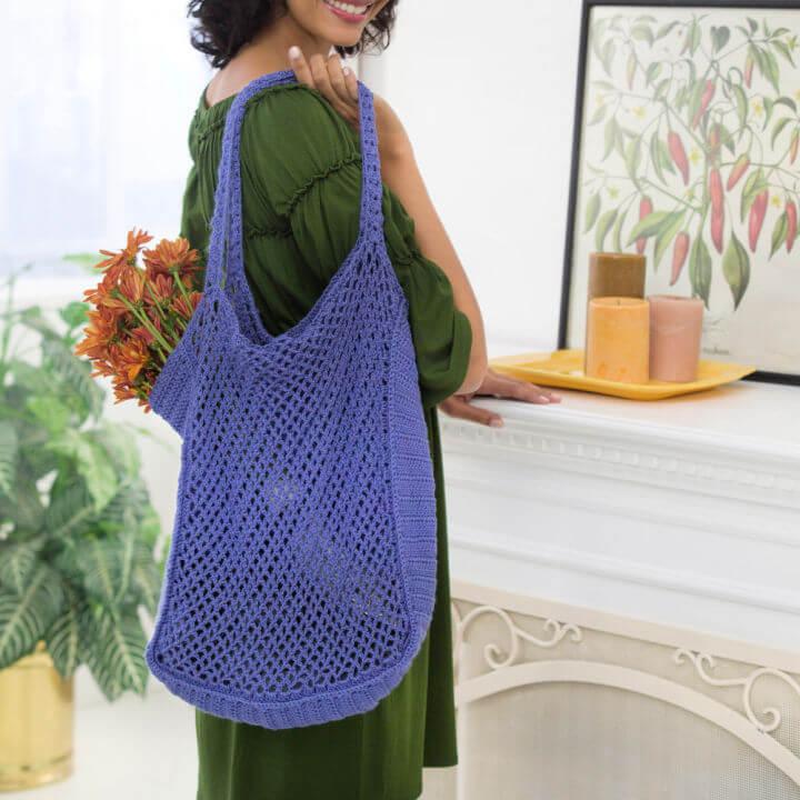 Red Heart Crochet Mesh Market Bag