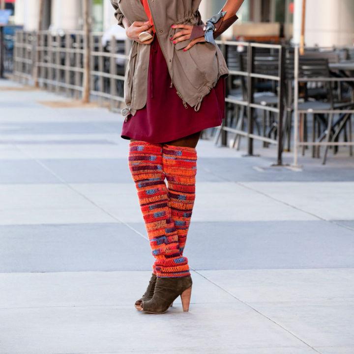 Red Heart Crochet Thigh High Leg Warmers