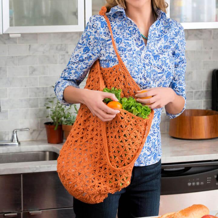 Red Heart Lacy Crochet Market Bag