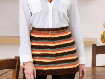 Red Heart Striped Mini Crochet Skirt