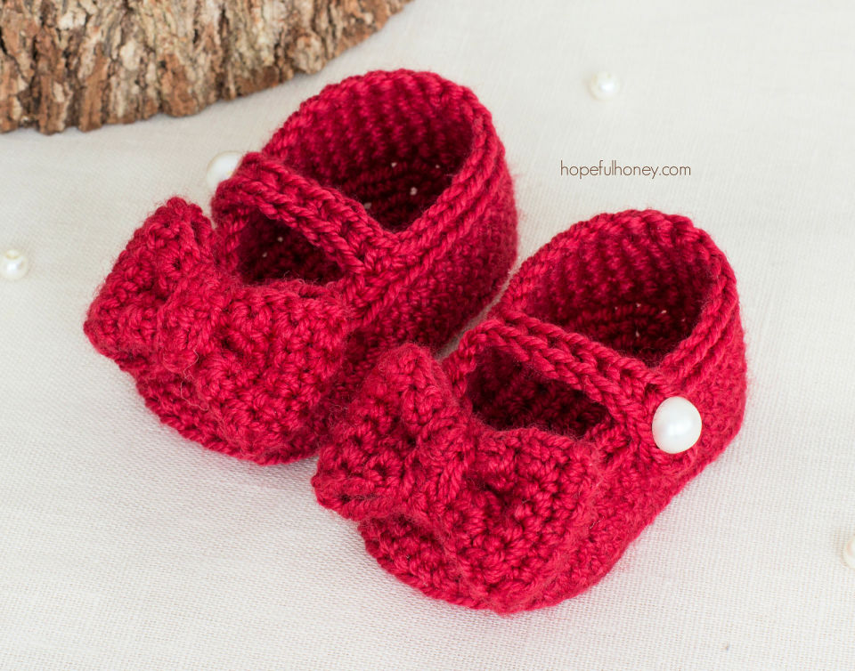 Ruby Red Mary Jane Crochet Baby Booties