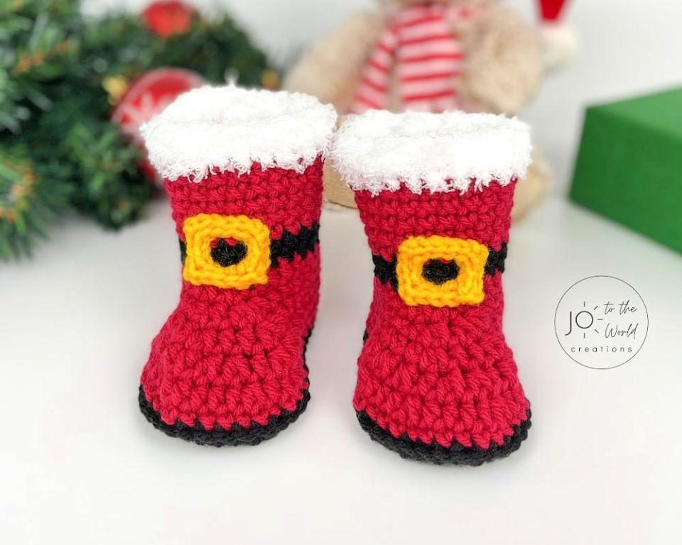 Santa Baby Booties Crochet Pattern