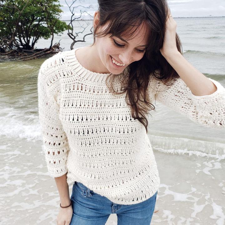 Sawgrass White Crochet Sweater