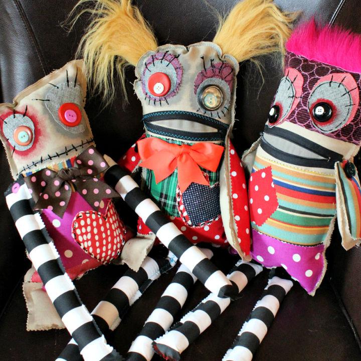 Scrap Fabric Monster Dolls
