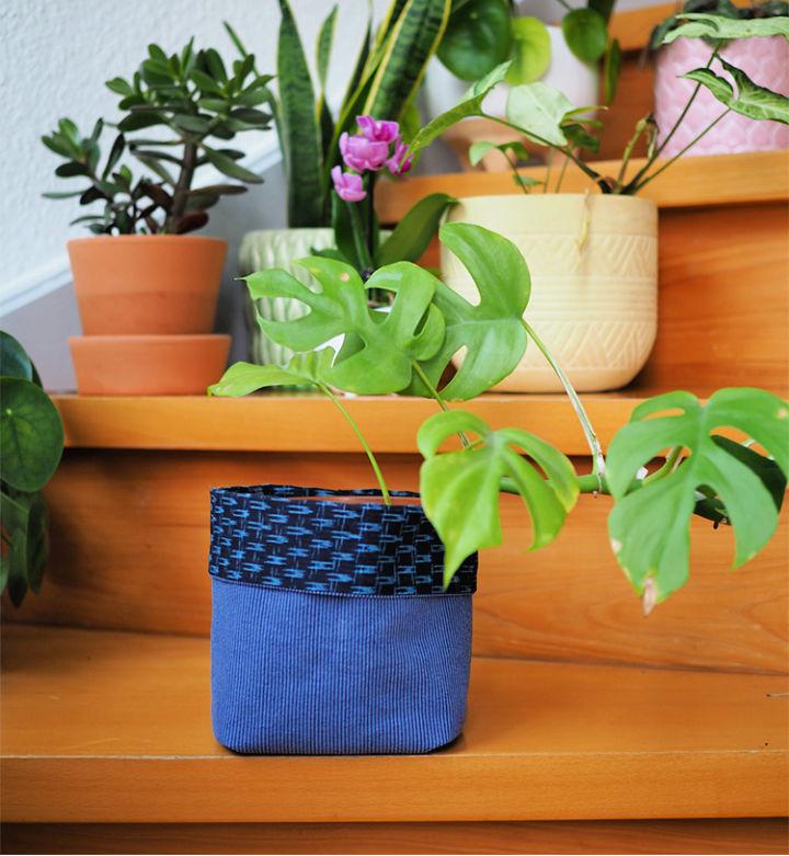 Scrap Fabric Plant Bucket
