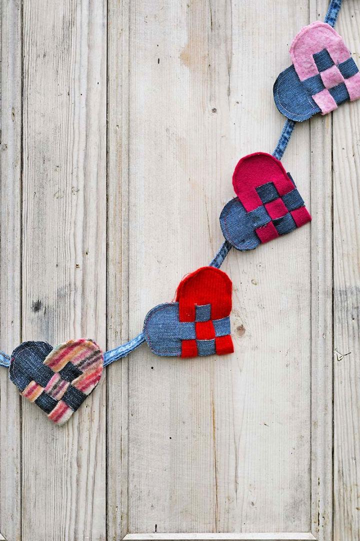Scrap Fabric Scandi Woven Hearts