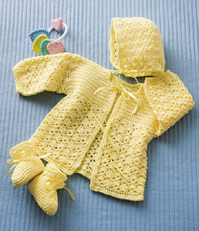 Shell Stitch Crochet Baby Sweater Set
