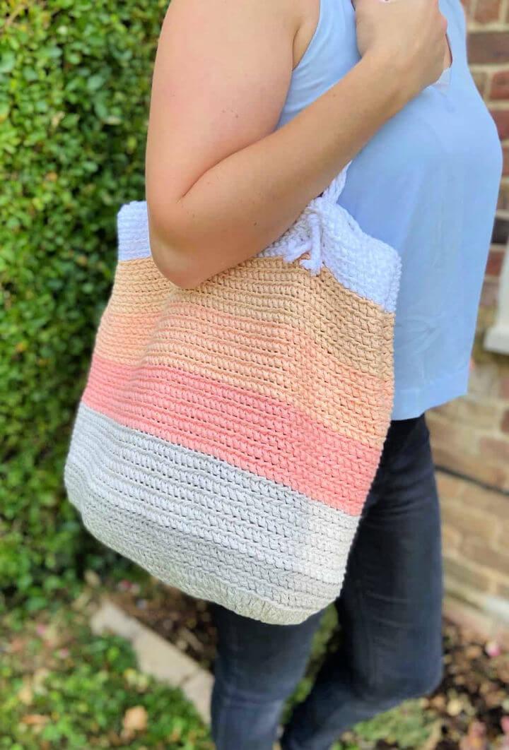 Summer Stripes Crochet Beach Bag