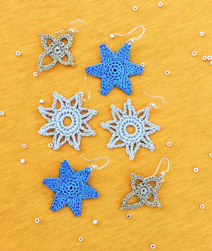Three Stars Crochet Earrings