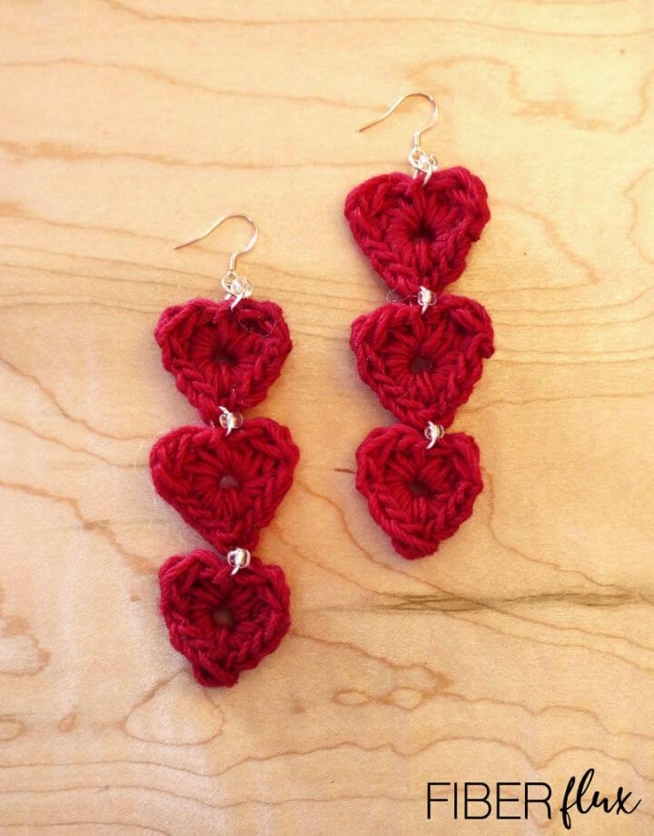 Tiered Heart Crochet Earrings
