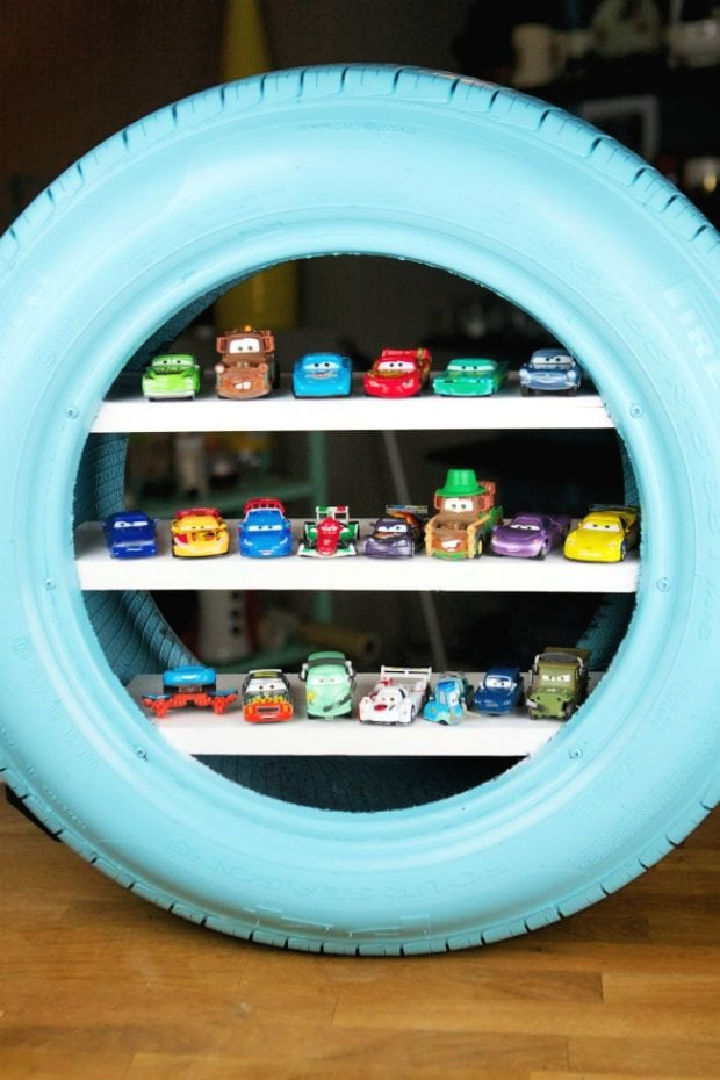 Toy Shelves from a Used Tire