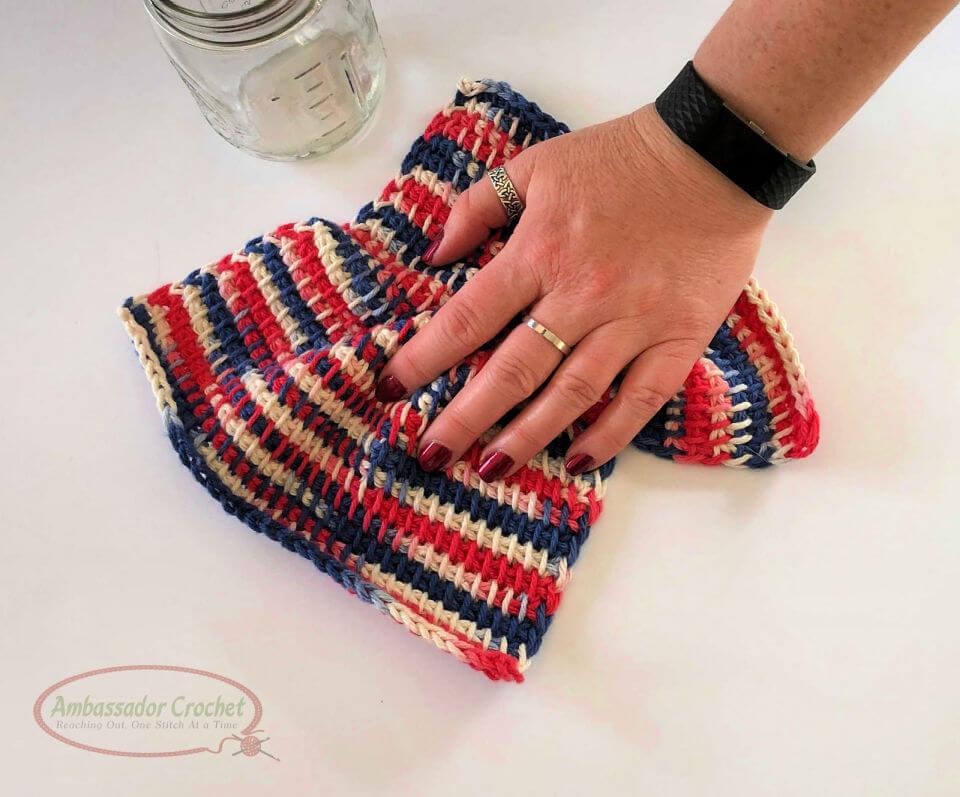Tunisian Crochet TSS Dishcloth