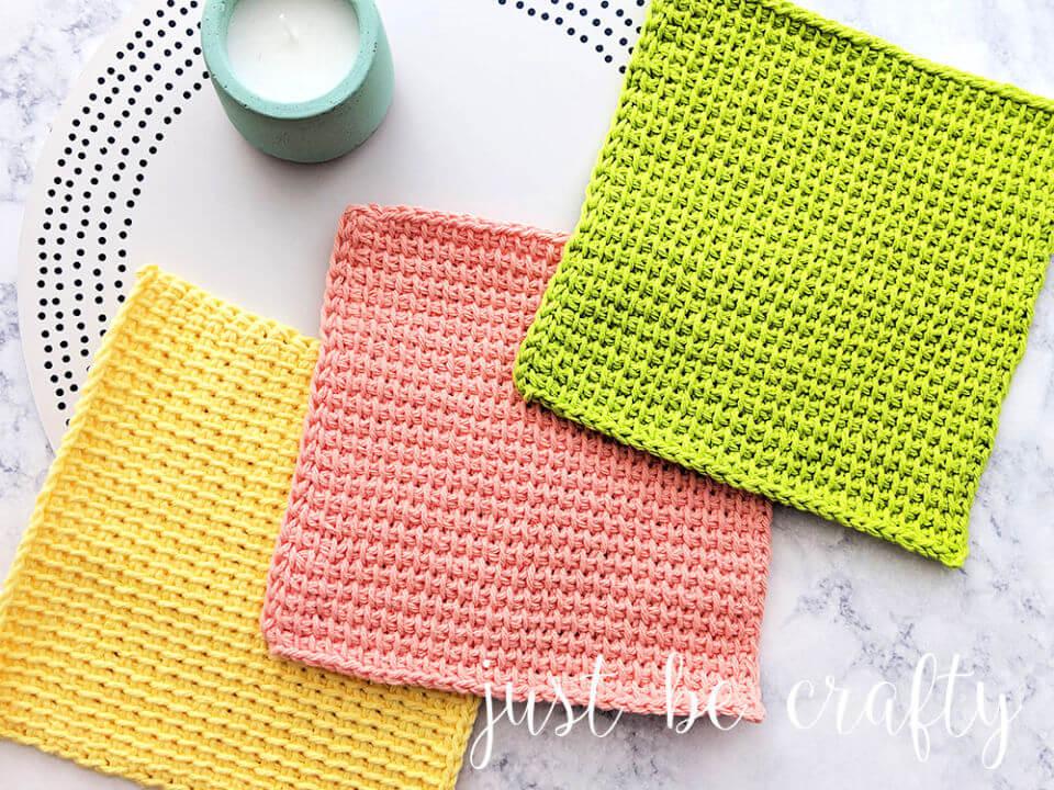 Tunisian Simple Crochet Stitch Dishcloths