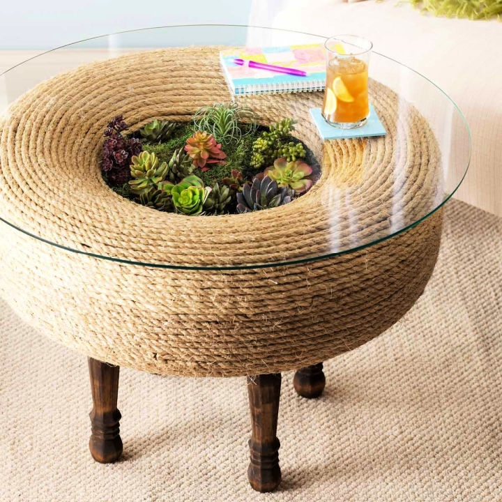 Turn an Old Tire Into Planter Table