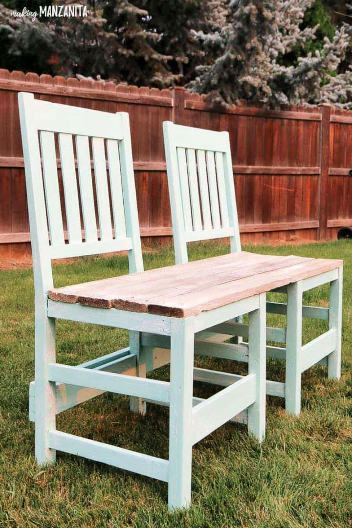 Upcycled Chair Bench for Backyard