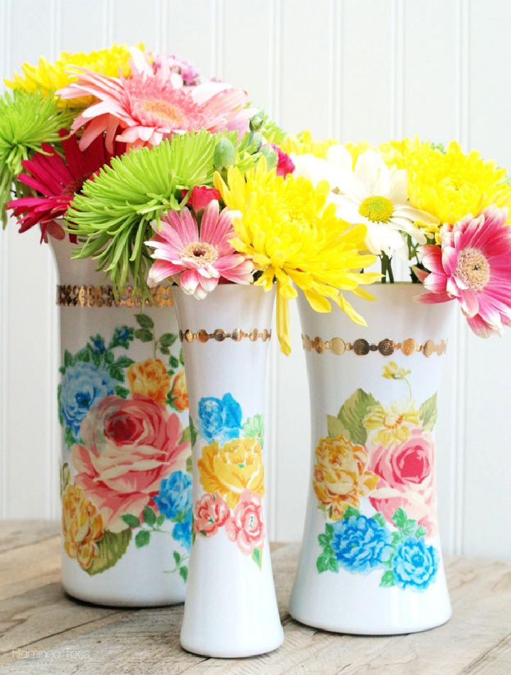 Vintage Style Floral Milk Vases