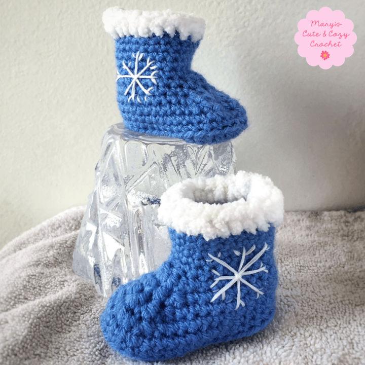 Winter Snowflake Crochet Baby Booties