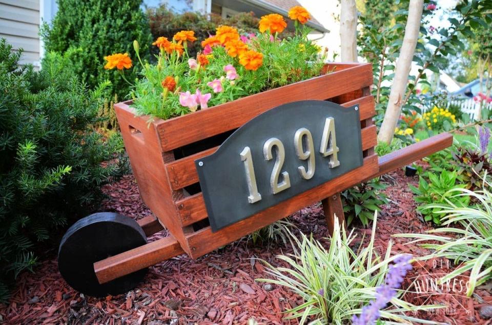 Wooden Home Address Wheelbarrow