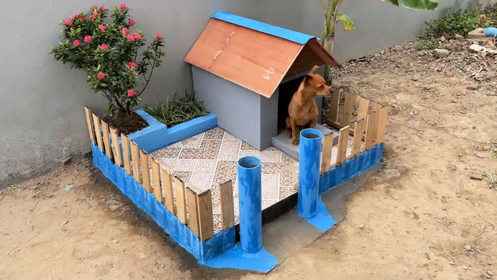 Wooden Pallet and Cement Dog House