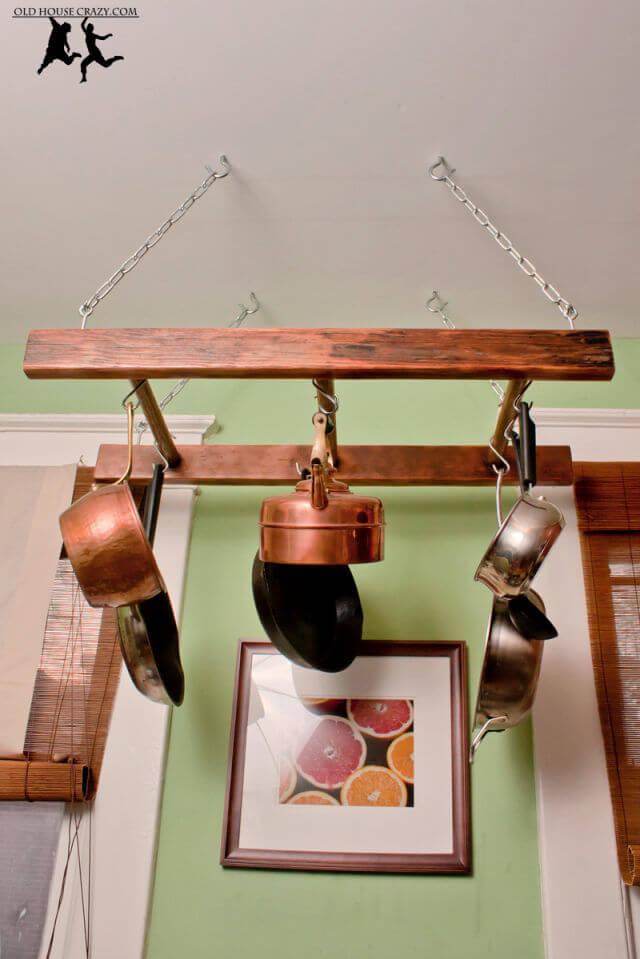 Antique Ladder Pot Rack