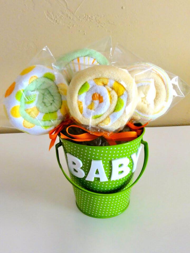 Baby Shower Washcloth Lollipops