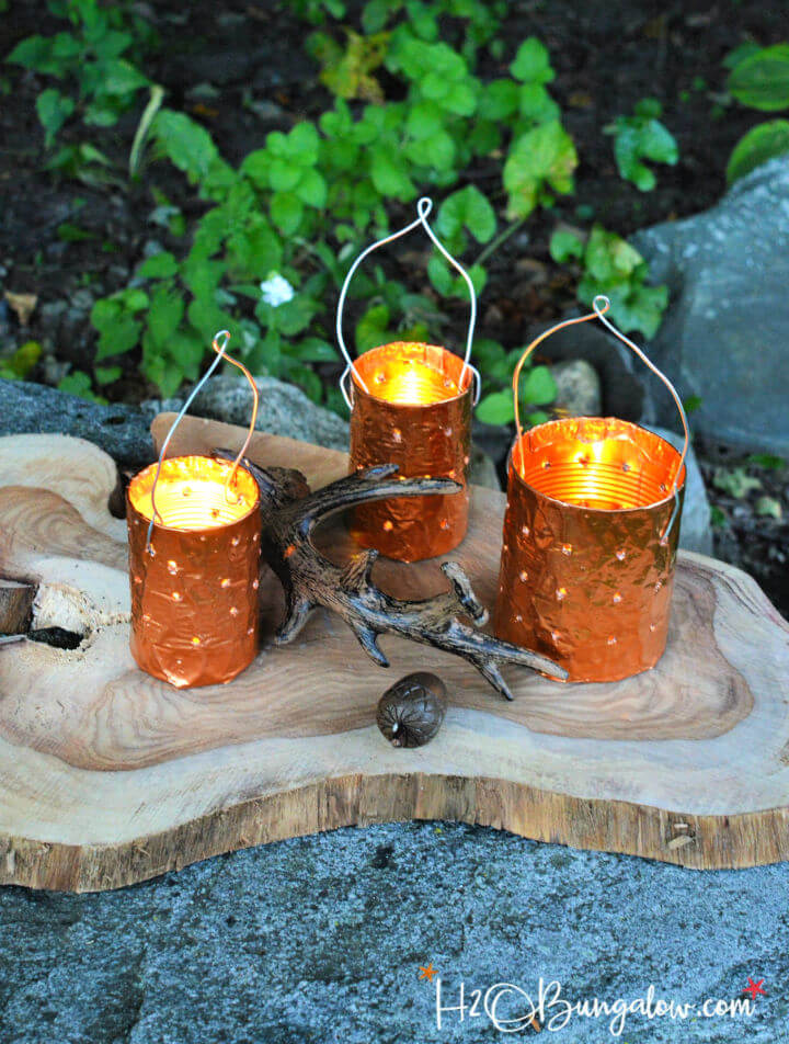 Copper Tin Can Candle Holders