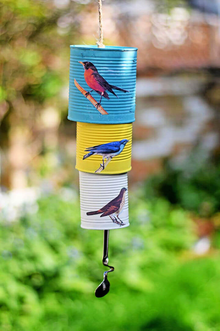 Decoupage Tin Can Wind Chime