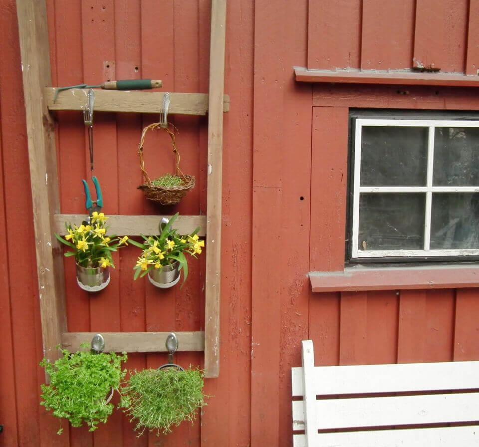 Old Ladder to Plant Holder