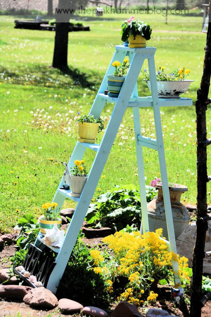 Old Wooden Ladder Into Plant Stand