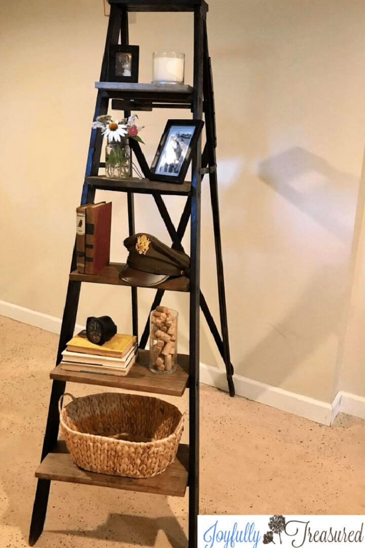 Old Wooden Ladder Shelf