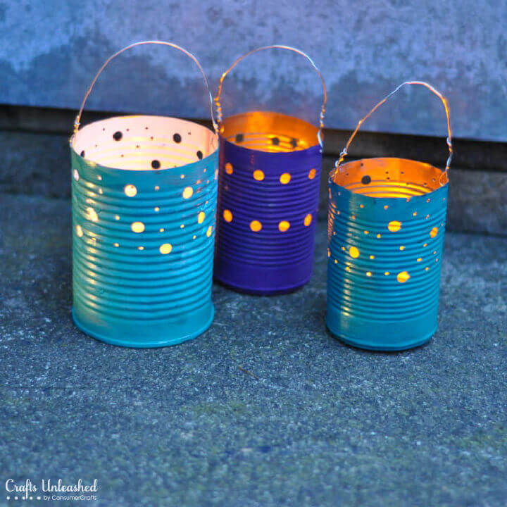 Recycled Small Tin Can Luminaries