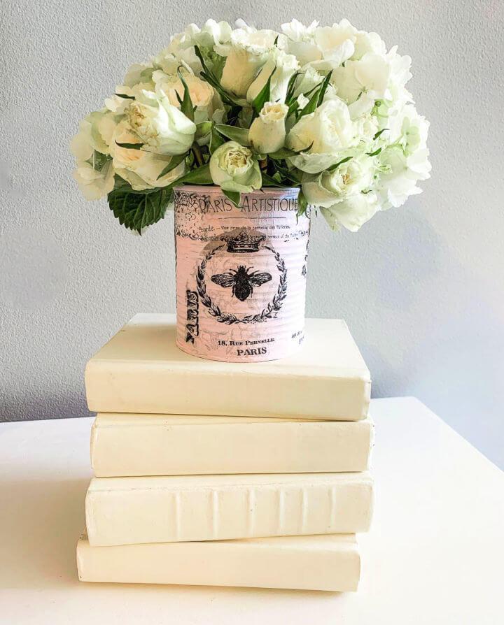 Shabby French Tin Can Vase