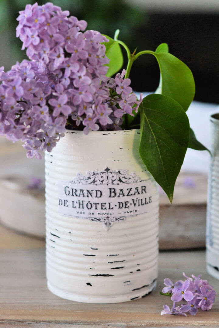 Vintage French Recycled Tin Can