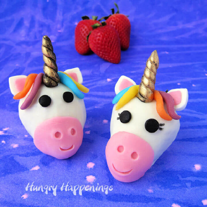 White Chocolate Dipped Strawberry Unicorn
