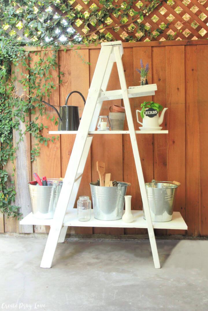 Wooden Ladder Outdoor Shelving Unit