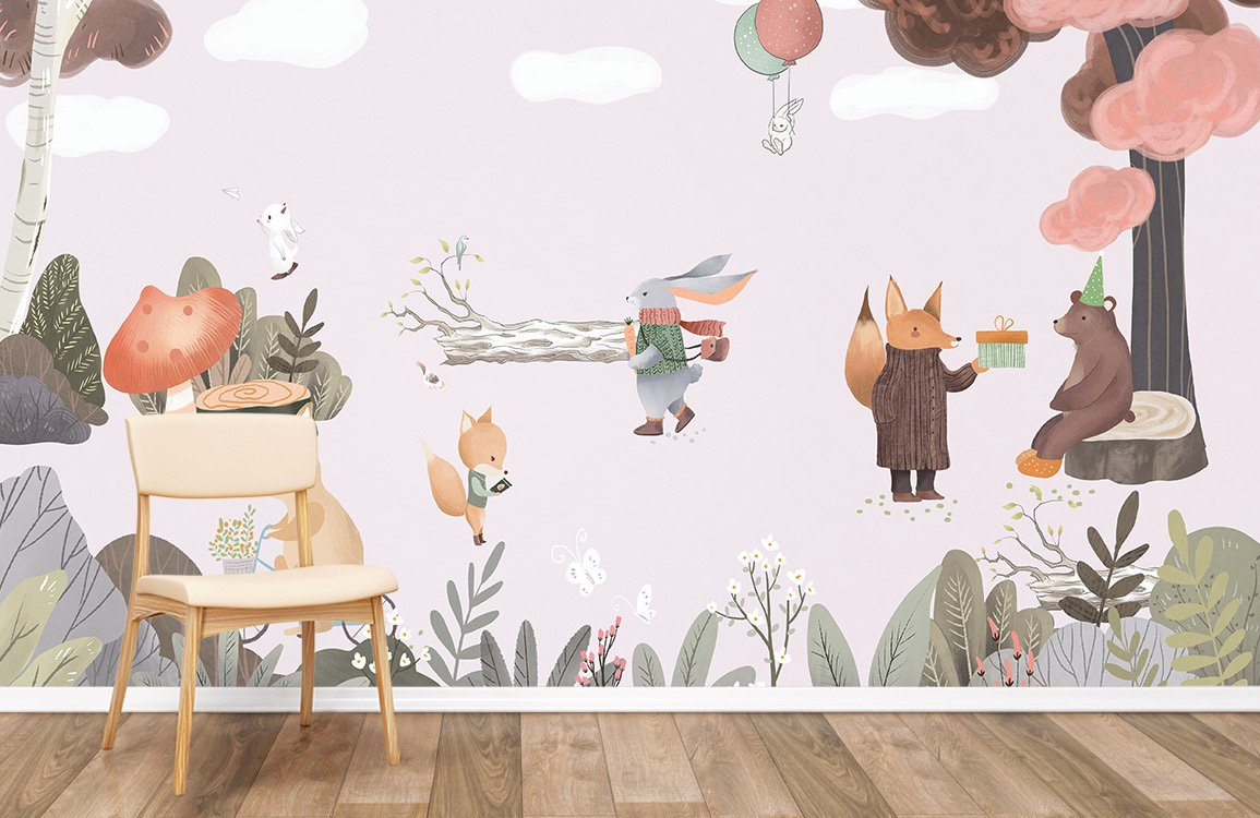 cute animals are preparing for forest party wallpaper