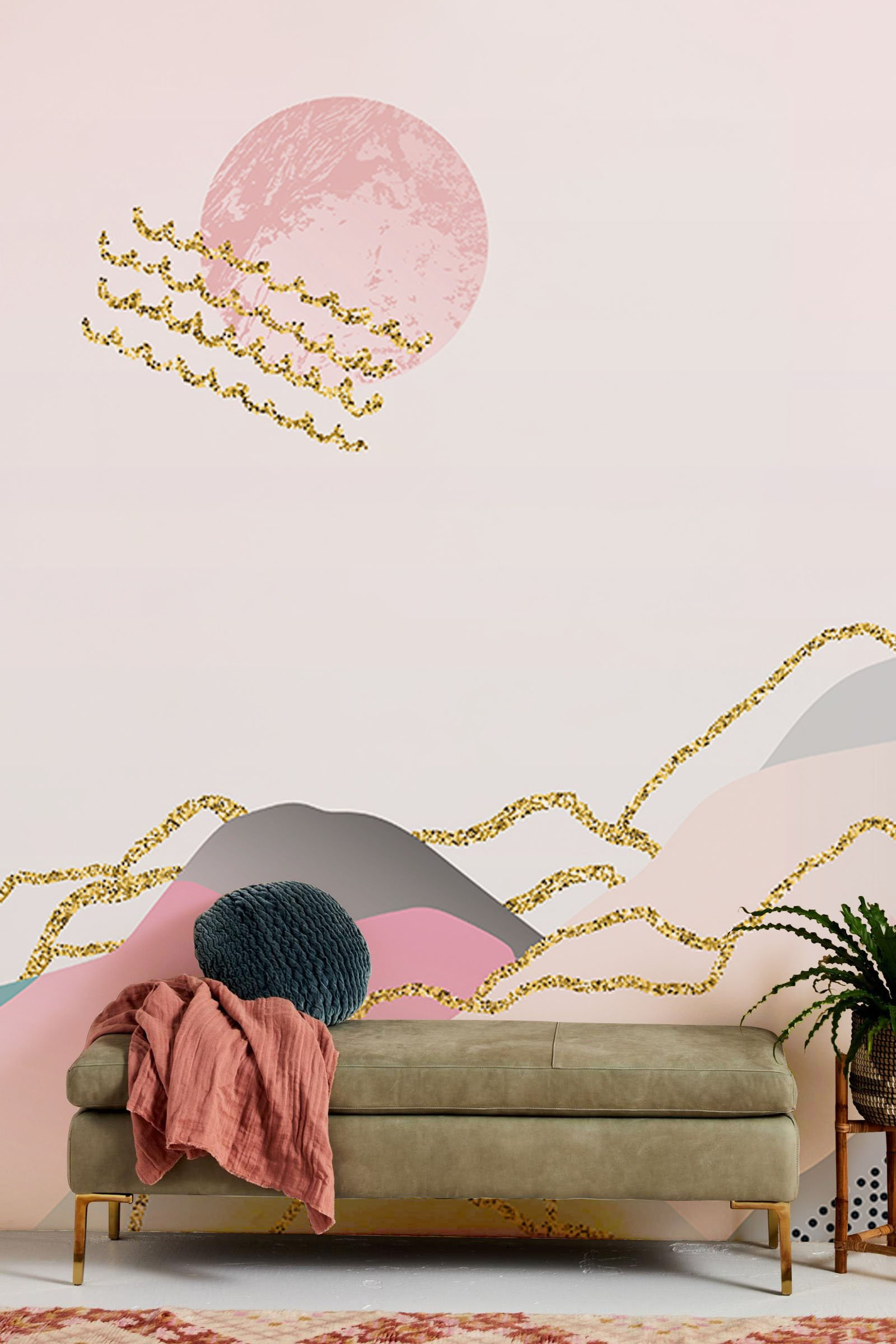 ombre mountain wallpaper mural hallway